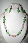 MBAHB #013-160  One Of A Kind Green Bead & Rose Quartz Necklace & Earring Set""