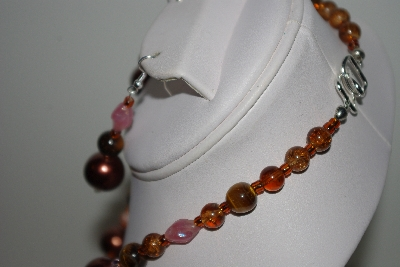 "MBAHB #013-155  ""One Of A Kind Brown  Bead & Tiger Eye Necklace & Earring Set"""