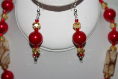"MBAHB #013-058  ""One Of a Kind Tan & Red Bead Necklace & Earring Set"""