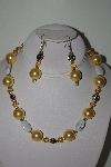 "MBAHB #013-140  ""One Of A Kind Yellow Bead & Howlite Necklace & Earring Set"""