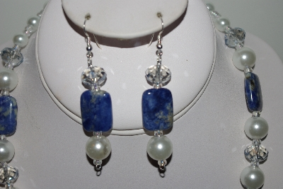 "MBAHB #013-054  ""One Of A Kind Shell Pearl/ Crystal & Lapis Bead Necklace & Earring Set"""