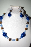 "MBAHB #013-135  ""One Of A Kind Blue Bead & Tiger Eye Necklace & Earring Set"""