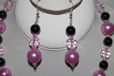 "MBAHB #013-047  ""One Of A Kind Pink Bead & Black Onyx Necklace & Earring Set"""