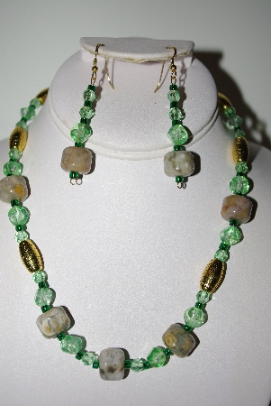MBAHB #013-042  :One Of A Kind Green Bead & Green Moss Agate Gemstone Necklace & Earring Set""