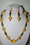 "MBAHB #013-037  ""One Of A Kind Yellow & Gold Bead Necklace & Earring Set"""