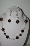 MBAHB #013-120  One Of A Kind Brown & White Bead Necklace & Earring Set""