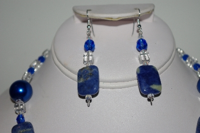 "MBAHB #013-115  ""One Of A Kind Lapis & Crystal Quartz Bead Necklace & Earring Set"""