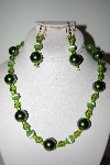 "MBAHB #013-027  ""One Of A Kind Green Bead Necklace & Earring Set"""