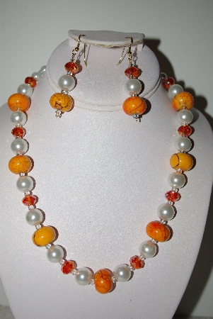 "MBAHB #013-022   ""One Of A Kind Orange & White Bead Necklace & Earring Set"""