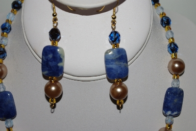 "MBAHB #013-007  ""One Of A Kind Blue Bead Necklace & Earrings Set"""