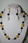 "MBAHB #013-002  ""One Of A Kind Black,White & Golden Bead Necklace & Earring Set"""
