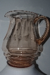 "**MBAMG #24-009  ""Vintage Pink Glass Floral Etched Pitcher"""