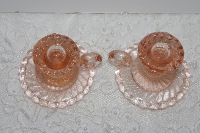 "**MBAMG #24-022  ""Fancy Small Pink Glass Candle Holders"""