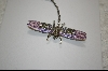 "MBA #JCPDP  ""Artist Signed ""Janus"" Crystal And Enameled Purple Dragon Fly Pin"