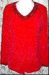 Stitches In Time Red Chenille Embelished Sweater