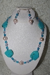 "MBAMG #003-149  ""One Of A Kind Blue & Pink Bead Necklace & Earring Set"""