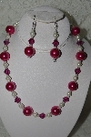 "MBAMG #003-154  ""One Of A Kind Pink & White Bead Necklace & Earring Set"""