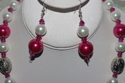 "MBAMG #003-171  ""One Of A Kind Pink,White & German Silver Bead Necklace & Earring Set"""
