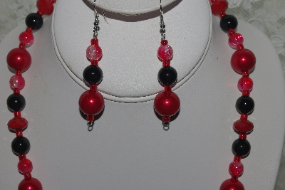 "MBAMG #003-158  ""One Of A Kind Red & Black Bead Necklace & Earring Set"""