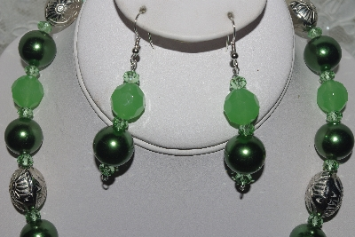 "MBAMG #003-166  ""One Of A Kind Green Bead & German Silver Necklace & Earring Set"""