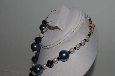 "MBAMG #018-163  ""One Of A Kind Grey & White Bead Necklace & Earring Set"""