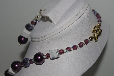"MBAMG #018-158  ""One Of A Kind Purple & White Gemstone Bead Necklace & Earring Set"""