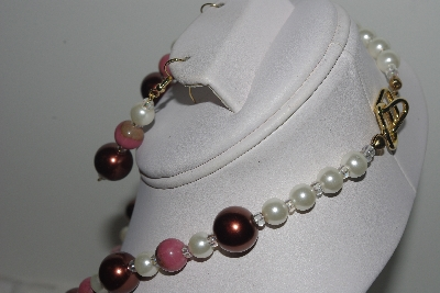 "MBAMG #018-149  ""One Of A Kind Brown,White & Pink Gemstone Bead Necklace & Earring Set"""