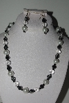 "MBAMG #018-141  ""One Of A Kind Black & White Bead Necklace & Earring Set"""