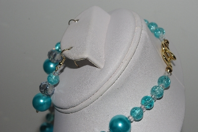 "MBAMG #018-137  ""One Of A Kind Blue Bead Necklace & Earring Set"""