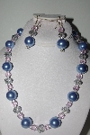 "MBAMG #018-128  ""One Of A Kind Blue & Pink Bead Necklace & Earring Set"""