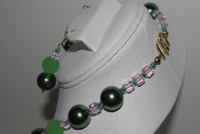 "MBAMG #018-119  ""One Of A Kind Green & Pink Bead Necklace & Earring Set"""