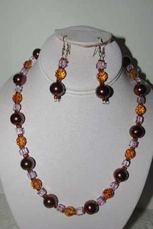 "MBAMG #018-115  ""One Of A Kind Brown,Amber & Pink Bead Necklace & Earring Set"""