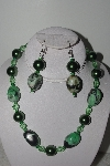 "MBAMG #018-061  ""One Of A Kind Green Bead Necklace & Earring Set"""
