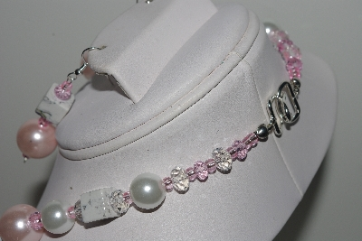 "MBAMG #018-066  ""One Of A Kind Pink & White Bead Necklace & Earring Set"""
