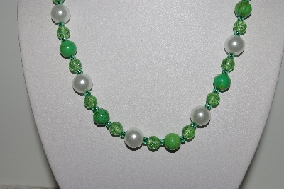 "MBAMG #018-107  ""One Of A Kind Green & White Bead Necklace & Earring Set"""