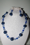 "MBAMG #018-095  ""One Of A Kind Blue Bead Necklace & Earring Set"""