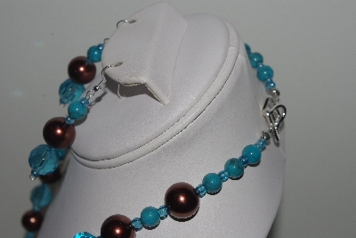 "MBAMG #018-079  ""One Of A Kind Blue & Brown Bead Necklace & Earring Set"""