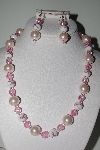 "MBAMG #018-099  ""One Of A Kind Pink Bead Necklace & Earring Set"""