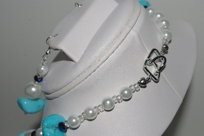 "MBAMG #018-053  ""One Of A Kind Blue & White Bead Necklace & Earring Set"""