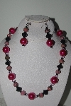 "MBAMG #018-049  ""One Of A Kind Pink & Black Bead Necklace & Earring Set"""