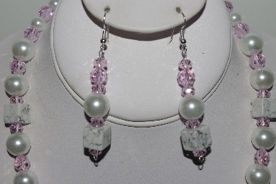 "MBAMG #018-057  ""One Of A Kind White & Pink Bead Necklace & Earring Set"""