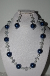 "MBAMG #018-039  ""One Of A Kind Blue & White Bead Necklace & Earring Set"""