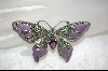 **  Sterling, Amethyst ,Lavender Enameled Marcasite Butter Fly Pin