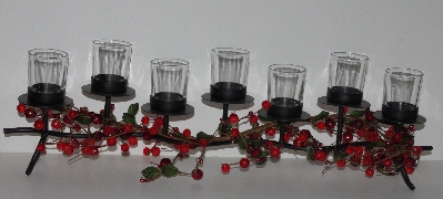 "MBAMG #019-0871  ""David Shindler Holiday Votive Candelabra With Beaded Garland"""