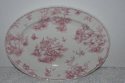 "+MBAMG #019-041   ""Queens China Pink Chelsea Toile  Oval Serving Platter"""