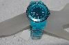 "*MBAMG #019-09   ""Turquoise Blue Geneva Acrylic Band Toy Style Ladies Watch"""