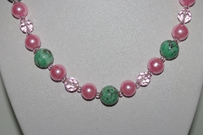 "MBAMG #019-137  ""One Of A Kind Green Turquoise & Pink Bead Necklace & Earring Set"""