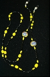 Yellow Glass Beads With Cat Faces