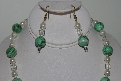 "MBAMG #019-149  ""One Of A Kind Green Turquoise & White Bead Necklace & Earring Set"""