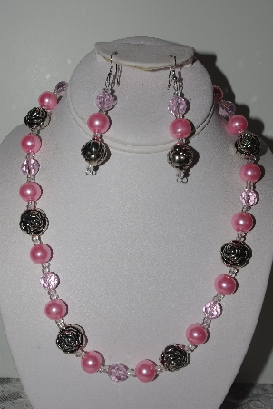 "MBAMG #019-141  ""One Of A Kind Pink Bead & German Silver Bead Necklace & Earring Set"""